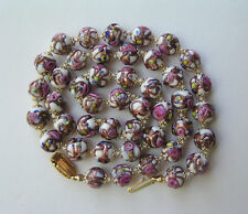 Vintage Murano Venetian Wedding Cake White Bead Pink Roses Necklace Knots Capped