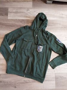 EUC Attack On Titan Men's Jacket Size Small Green Hood Anime