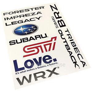 Subaru Sticker Sheet BRZ Forester Impreza WRX STi Legacy Outback Tribeca Genuine