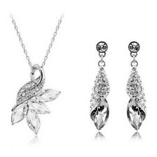 Crystal Rhinestone Necklace Earring Set Swan Silver Tone Pendant Chain 220