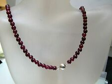 Top quality 5 mm natural Garnet w/ Crystal, silver bead necklace 18.5 inches