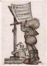 Künstlerkarte v. B. Hummel: Morgenkonzert mit Teddybär 1952