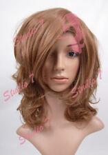 W13 Shoulder Length Ash Brown Full Wig Wavy Curl Permatease Top - studio7-uk
