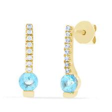 Orecchini di lusso con gemme blu in oro giallo 18 carati