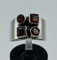 Vintage 925 Sterling Silver Wide Band Modernist Garnet Statement Ring- Size 5.25