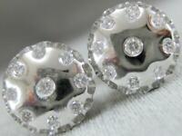 ESTATE MODERN ETOILE DIAMOND 14K WHITE GOLD ROUND PUFF STUD EARRINGS 12M K1364.2