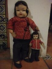 Antique Dolls Paper Mache Head fabric body Two rare Handmade. German Russian