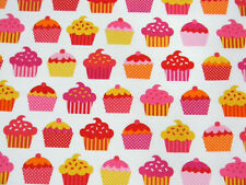 Robert Kaufman Confections Cupcakes White Fabric