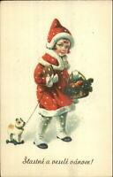 Foreign Christmas - Little Girl in Red Coat Cookie? Pull-Toy Dog Postcard