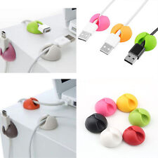 6pcs Wire Cable Drop Clip Desk Tidy Organiser Wire Cord Lead USB Charger Holder