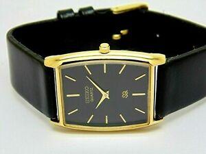 Seiko Quartz Super Slim Men Gold Plated Excellent Black Dial Watch Run Order