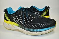 Hoka One One Clifton 4 Mens Running Shoes Black Blue Yellow Size 12.5 Training