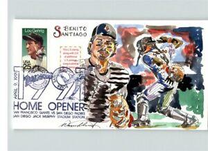 Hand Painted BENITO SANTIAGO, Baseball's 1991 Home Opener, Wild Horse cachet