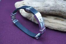 EDFORCE Stainless Steel Black Rubber Religious Cross Bracelet Fit a 8''
