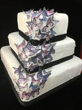 Butterfly Cake Topper 50pc DIY Monarch Purple Lilac Christening Birthday Edible