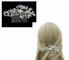 Beautiful Wire Faux Pearl & Crystal Hair comb Slide Swirl Design Diamante