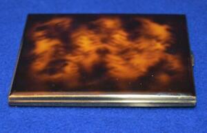 VTG Colibri Faux Tortoise Shell Gold Color metal cigarette case Made Japan