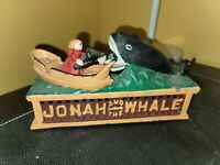 Vintage Cast Iron Jonah And The Whale Mechanical Bank Working Conditon