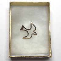 "VTG Christian Religious Lapel Hat Tie Pin Pinback Dove Bird 3/4"" Goldtone #73"