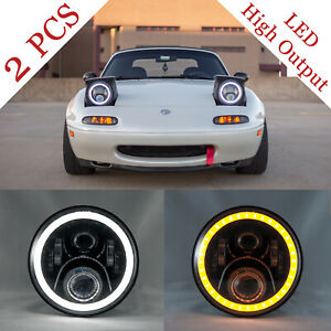 "NA MIATA Headlights (Pair) Mazda MX-5 MX5 LED 7"" Plug N' Play Wide Halo NEW"