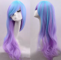 Women Long Charm Blue Mix Purple Wavy Curly Full Hair Cosplay Costume Wig 0048R