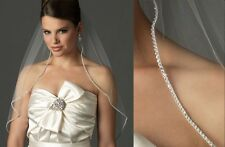 New 1 T White Elbow Length Rhinestone Edge Wedding Bridal Veil with Comb LBF