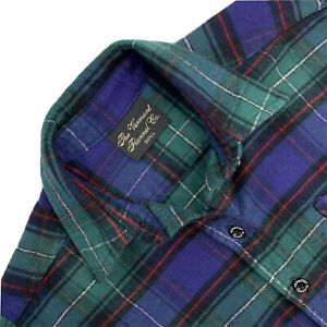 Womens S Vermont Flannel Company Blue / Green / Red Plaid Cotton Flannel Shirt