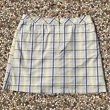 Annika by Cutter & Buck Women's Size 8 Plaid Golf Skort Yellow Gray Stretch