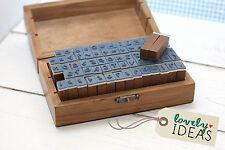 70 Stempel ABC Alphabet Zahlen Handschrift Klein- & Großbuchstaben HolzBox