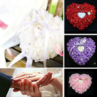 Romantic Rose Wedding Favors Heart Shaped Pearl Gift Ring Box Pillow Cushion New