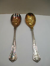 Sheffield Silverplate Kings Pattern Fancy Gold Wash Salad Fork & Spoon Set Berry