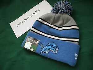 Detroit Lions New Era knit pom hat beanie w/tags RARE NFL OnField AUTHENTIC 2013