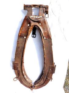 Outil ancien XIXème superbe collier de débardage modèle pour  gros cheval