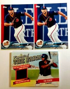 TIM TEBOW ROOKIE BASEBALL CARD JERSEY LOT OF 3 TOPPS RC