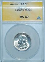 1941 S ANACS MS62 FS-501 Large S Washington Quarter