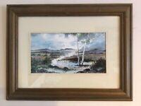 Original framed and signed C Rex James watercolour Dartmoor landscape