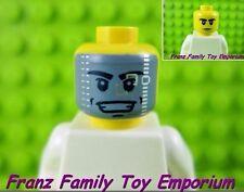 New LEGO Minifig HEAD 2 Sided Stern/Gray Space Motorcycle Helmet Visor Series 12