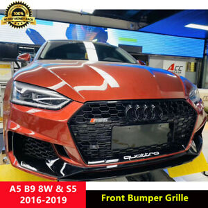 A5 Black Front Grille Mesh Grill for Audi A5 B9 8W Sline S5 2016-2019 To RS5