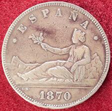 Spain 5 Pesetas 1870 (D2108)