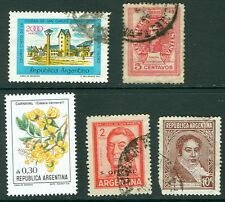 Argentina - mixed lot of five stamps, mostly used, architecture, flowers
