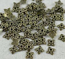 70  Stk. Perlenkappen Blümchen, bronze - 6 mm Perlen Kappen Blumen Perle