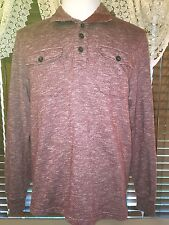 Mens VGUC LUCKY BRAND L Large Burgundy LS Twin Pocket Handcrafted Polo