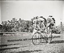Old Funny Fun Weird Strange Native American Boy Riding/Rides Bicycle/Bike Photo