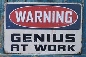 WARNING GENIUS AT WORK Tin Signs Retro Metal Plaque Pub Wall Decor Art Poster
