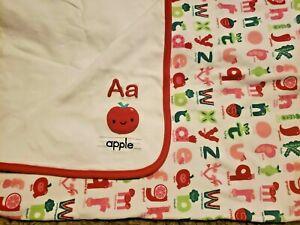 GYMBOREE UNISEX APPLE ALPHABET  ABC Red Baby Crib BLANKET EXC
