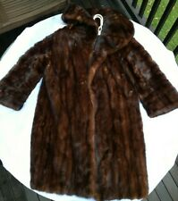 Women's red Brown Real Mink Fur Coat Jacket with hood Sz M- L 10-12