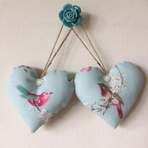 Pair Of Cushioned Heart Door Hangers in Beautiful Birds Duck Egg Fabric – Dunelm