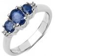 Anillo De Plata 925 con Cristal Con Zafiro Oval Y Blanco Diamante