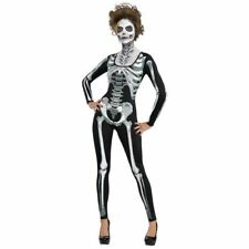 Womens Skeleton Halloween Catsuit Costume Fancy Dress Outfit Size 10-12