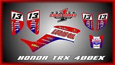 Honda TRX 400 400ex 99-07 ATV SEMI CUSTOM GRAPHICS KIT RED OIL